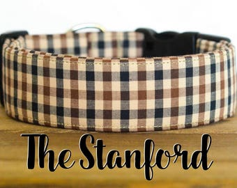 "Black, Brown & Beige Modern Checked Dog Collar ""The Stanford"""