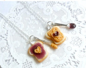 ON SALE Peanut Butter Jelly Heart Necklace Set, Best Friend's BFF Necklace, Cute :D