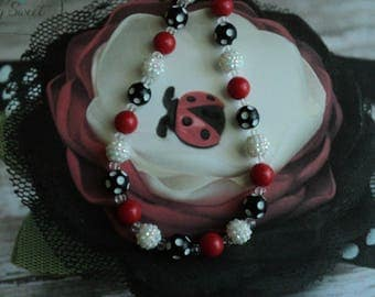 "The "" Sweet Little Lady Bug ""  Bead Necklace, Toddler, Girls, Birthday, Photo Prop, M2M Simply SweetSimply Sweet ~ a little lady boutique"