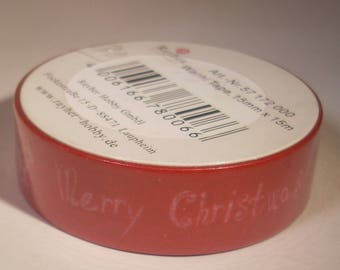 Ribbon tape 15 mm x 15 meters red Rayher Christmas pattern