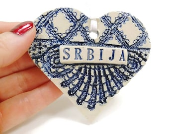 Srbija Ornament, Serbian Décor, Serbian Heart Ornament, I Love Serbia, Serbian Holiday, Montenegrin, Christmas Ornament, Serbian Christmas