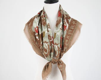Vintage Russian Style Brown Floral Large Square Scarf Shawl
