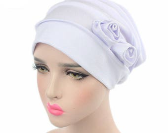 White Soft Head Cover Turban Hijab with Flowers, White Cotton Hair Wrap Cover