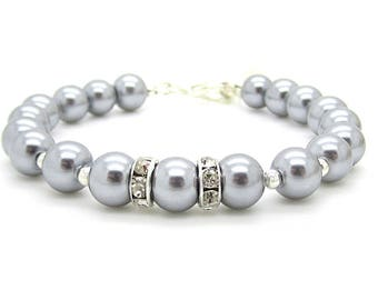 Grey Pearl Bracelet, Simple Bridal Jewellery, Silver Grey Wedding, Grey Bridesmaid Bracelet, Platinum Weddings, Bridal Party Gifts,