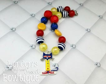Pete the Cat Inspired Chunky Necklace /Groovy Shoes Necklace/  Toddler chunky necklace/ rhinestone pendant
