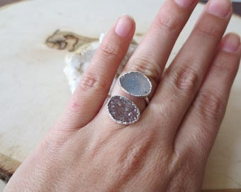 Oval druzy sterling silver adjustable ring, druzy adjustable silver ring, double druzy ring