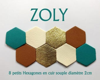 8 small hexagons leather diameter 2cm 4 colors
