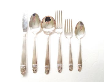 1944 Danish Queen Silver Flatware by Wallace, Harmony House, Set of 6, Dinnerware, Cutlery, Place Setting