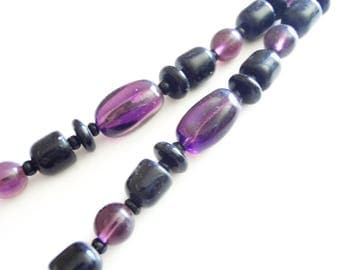 Amethyst Onyx Necklace - 30 Inch - Vintage Jewelry - Oblong Barrel Disk Shaped Beads - Gemstones - Beaded 1970s - Gift for Her - Purple