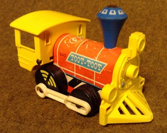 Vintage Fisher Price Toot-Toot Engine 643 - Wood Body Train - Pull Toy or Roll