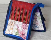 """12 pair capacity Interchangeable knitting needle and crochet hook keeper case for needles 3.5"""" to 6.25"""" in length to size 9 Muppets, Kermit"""