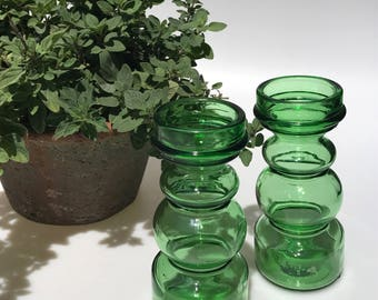 Two Wonderful Green Glass Mid Century Candle Holders/ Vases made in Italy