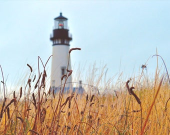 Lighthouse photo, HDR photograph, blue and brown, fine photography prints, A Day at Yaquina Head