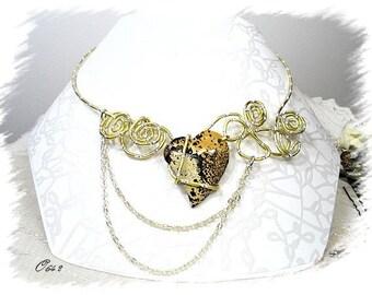 wire aluminum gold and silver diamond heart necklace Jasper CO642