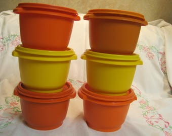 Set of Six Vintage Tupperware 20 ounce Servalier Containers with Burp lids
