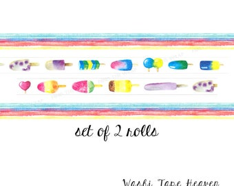 """NEW Two Rolls """"Popsicles"""" and """"Summer Stripes"""" Washi Tape Set  - 15mm x 8m each - Ice Cream Bars Planners Decoration Cards Scrapbooking"""