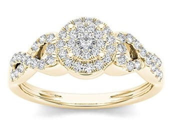 10Kt Yellow Gold 0.40 Ct Diamond Halo Engagement Ring
