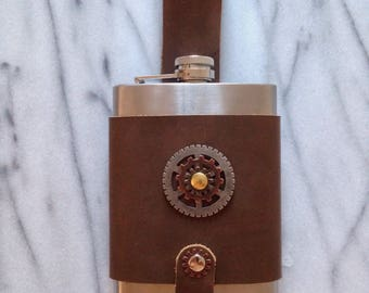Steampunk Leather Belt Flask Holster Case with flask 8oz