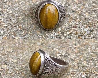 southwestern sterling silver tiger's eye vintage floral band ring size 7.5