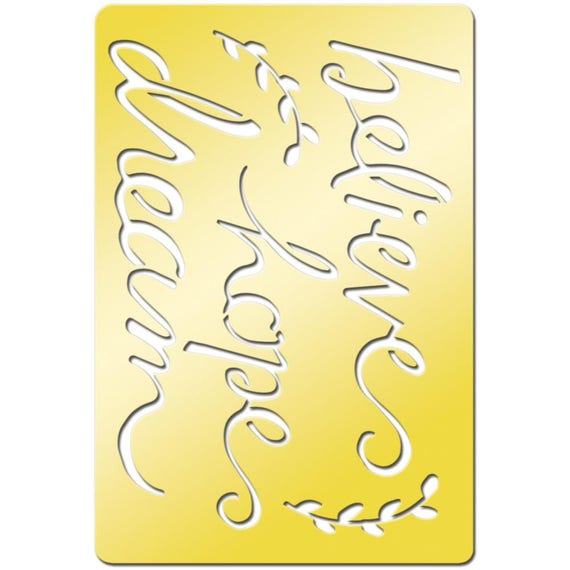 """Words of hope like Believe, hope, dream on this beautiful brass metal stencil / template  3.8""""X2.6"""" perfect for your  art projects"""