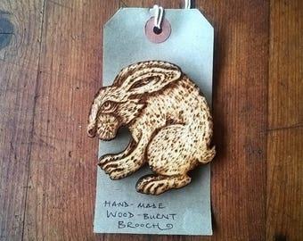 Original Wood burnt large hare brooch, pyrography2