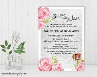 Vow Renewal Invitation, Silver Anniversary Party, 25th Wedding Anniversary Invite, 10th Vow Renewal, 15th Anniversary, Printable, V27001