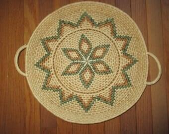 Vintage woven grass wall art or table basket boho natural southwest decor