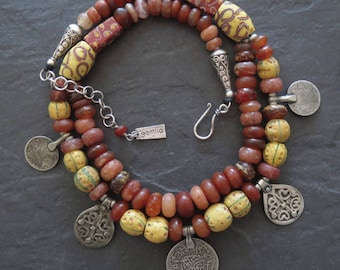 Antique Carnelian & African Venetian Trade Beads with Berber Silver Pendants