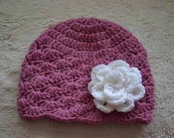 Crochet baby hat, baby girl hat, pink baby beanie, crochet pink baby hat.