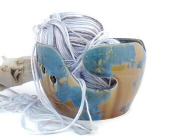 Ceramic Crochet  Bowl, Amber and Deep Blue Crystalline Glazed, Knitting Bowl, Yarn Bowl,