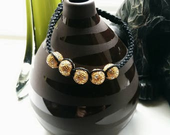 Shambala bracelet with gold and silver beads