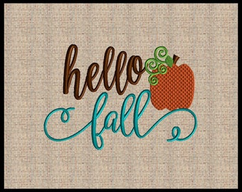 Hello Fall Machine Embroidery Design Pumpkin Embroidery Design Embroidery Design 5 sizes