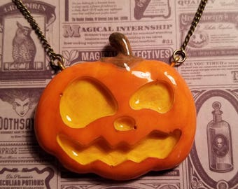 Jack O Lantern Necklace, Hand Painted Resin, Halloween Necklace, Pumpkin Necklace, Halloween Every Day, Jack-O-Lantern