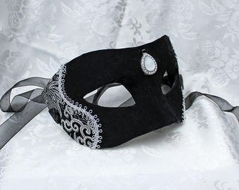 Black Silver Brocade Masquerade Mask, Black Satin Brocade and Silver and Black Metallic Brocade Women's Masquerade Mask