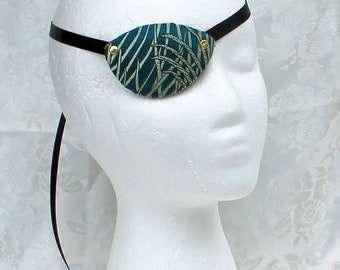 Green Gold Eye Patch, Peacock Green Gold Teal Satin Brocade Eye Patch, Pirate Costume Accessory