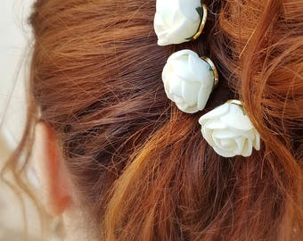 Wedding hair pins,Flower girl hair pins,Bridesmaid bridal hairpins,Flower girl,white rose hair pin,U shape hair pin,Wedding hair accessories