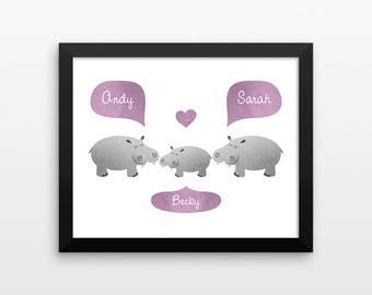HIPPO Nursery Art, Kids Baby Room Decor, Jungle Animal Nursery Decor, Personalized Nursery Wall Art, Baby Shower Gift, Jungle Nursery Print