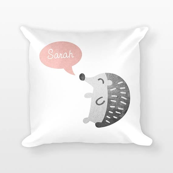 Custom Name Pillow, Hedgehog Pillow, Personalized Pillow, Birthday Gift for Daughter, Kids Room Decor, Animal Throw Pillow Decorative Pillow