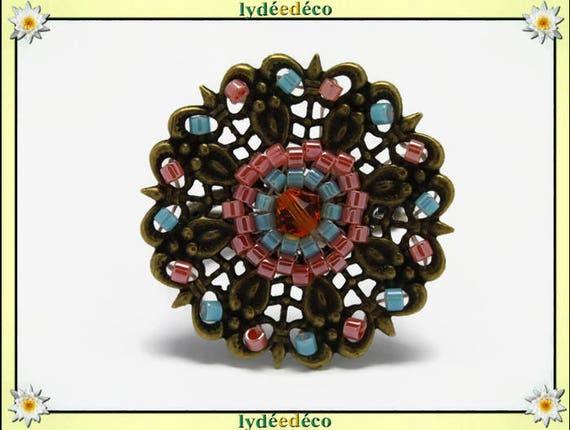 Japanese turquoise glass coral brass flower charm retro vintage beadwork Adjustable ring bronze 25 mm