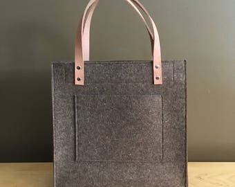 Merino Wool Felt Tote - Brown