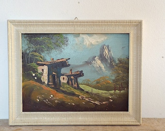 OIL PAINTING, farmhouse in the mountains, wall hanging, art artwork, landscape snow, farm house trees pasture, colorful paint, home decor