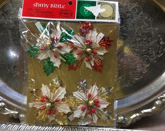 Vintage Christmas Shiny Brite Decoration Unopened Package 4 Poinsettia Starburst Ornament