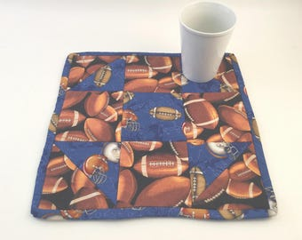 Football Mini Quilt, Football Pot Holder, Football Coaster, Table Topper, Man Cave Coaster, Sports Mini Quilt