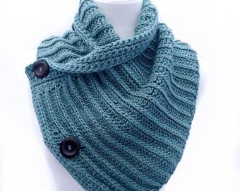 Buttoned Cowl - Cotton Wrap - Light Teal -