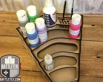 BattleTex Angled Paint Station - Citadel Warhammer Wargaming Painting Tool Tidy Miniature Modeling