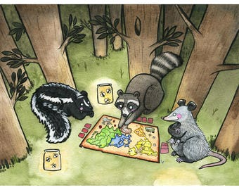 Nocturnal Risk - Rodent art - marsupial art - opossum art - raccoon art - skunk art - watercolor