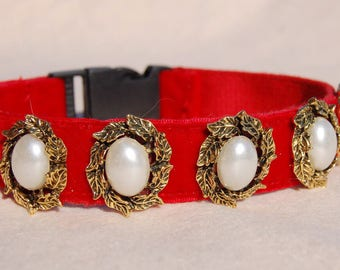 Dog collar,Perfect gift for dog ,cute red panne velvet with pearl flowers dog collar.Afternoon tea dog collar.dog wedding collar