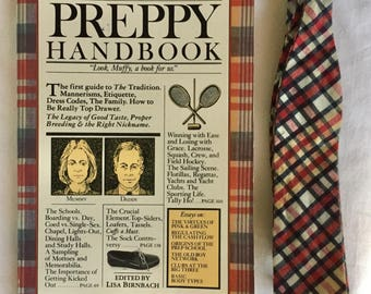 Preppy Handbook + Madras Bow Tie, Perfect Christmas Gift, Prepster Chic, 1960s 1970s Bow Tie, Christmas Neckwear, First Edition 6th Printing