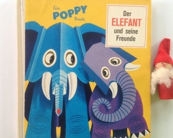 Adorable Vintage, German Child Book, Pop Up, Animals, Paper Art, 1970, MCM Aesthetic, Four Pages, Toddler Gift, Bedroom, Display Decor