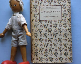 A Woman's Life, Guy de Maupassant, 1949, Sweet Dust Jacket, Floral Pattern, Tiny Book